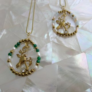 ∴Minertés = Birdcage - pearl necklace ∴ ‧ jade green brass