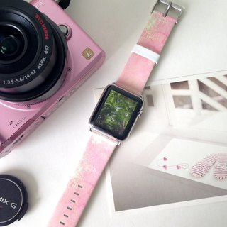 Apple Watch Series 1, Series 2 and Series 3 Abstract Pink Printed on Genuine Leather for Apple Watch Strap Band 38 / 42 mm - 38