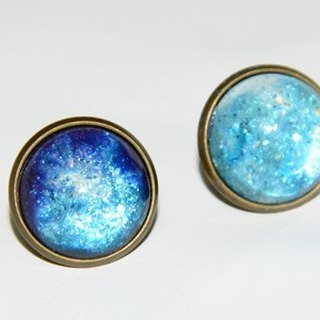 Hand-painted blue sea earrings (ear acupuncture / ear clip)