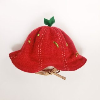 Grow Up! Wool Leaf Hat / Leaves & Nutrients (Red)