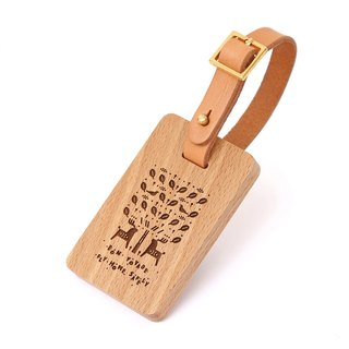 Custom Wooden Luggage Tag (European Beech - Bird, Deer and Tree)