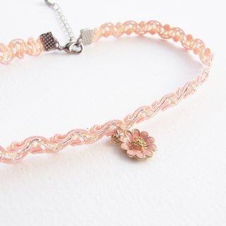 Peach lace choker/necklace with flower charm
