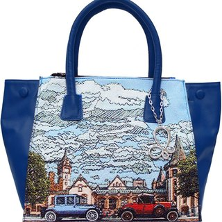 Jacquard stitching leather handbag vintage cars jacquard woven canvas cowhide
