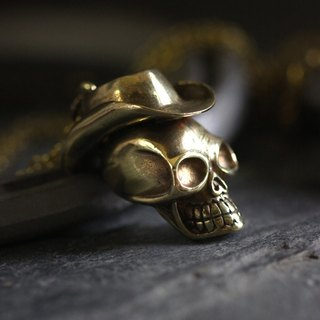 Skull Cowboy Charm Necklace by Defy - Pendant Jewelry Accessories