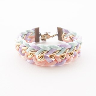 Pastel braided bracelet with gold chain