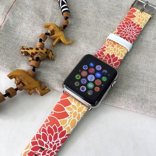 Apple Watch Series 1 ,Series 2 and Series 3 - 橙紅色碎花圖案 Apple Watch 真皮手錶帶38 / 42mm ,100%香港設計及製作