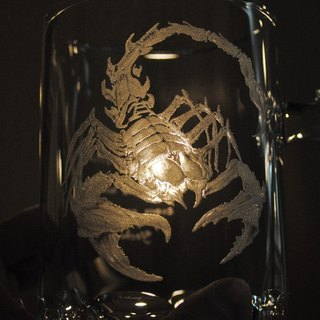 500cc [Salad Desert Scorpion] Scorpion King hand-painted glass carved star anise beer glass lettering boyfriend birthday customized
