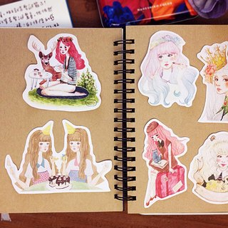 Girl Illustration - Hand Drawn Wind Pocket Stickers - Six into a Set