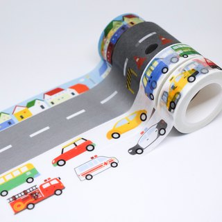 Road series masking tape combo pack(4 in one): road+cars+special cars+house
