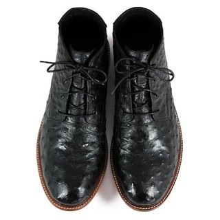 Sweet Violet M1123 BlackOstric leather Derby boots