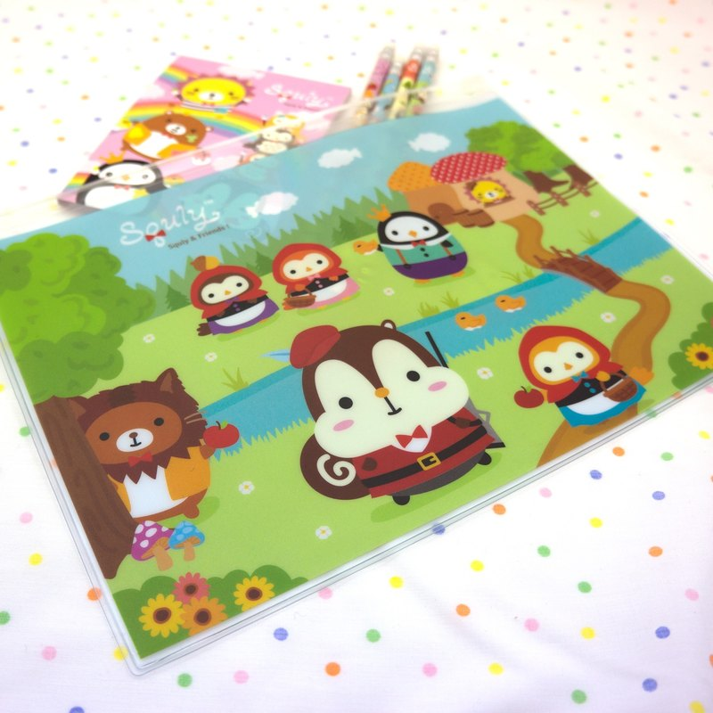 Squly & Friends B5 Zip bag (Little red riding hood) (D015SQS)