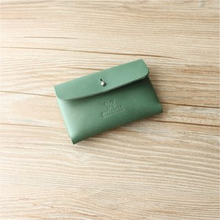 [Butterfly] hand-made leather dark green business card holder buy one get one free (free branding service).