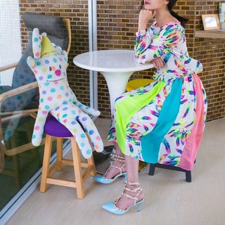 Mark advocate of color printing stitching colorful feather chiffon dress