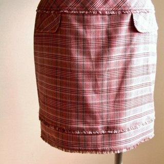 Houndstooth plaid skirt mixed lineage - Pink