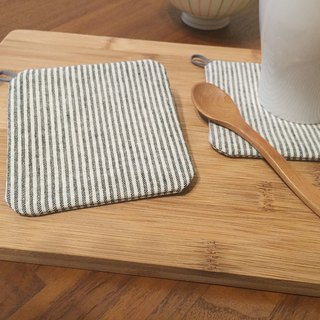 :: Lane68 :: hand-made coasters - simple ruled / gray (set of two)