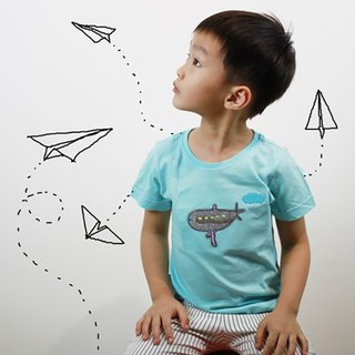 Children's cotton three-dimensional texture T-shirt - Childlike I cut a spaceship (powder blue)