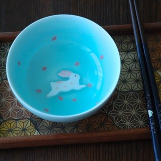 Three shallow ceramic | original design powder blue rabbit rice bowl rice bowl cherry couple creative birthday wedding gift tableware