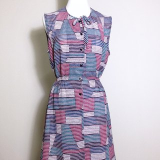 Ping-pong vintage [vintage dress / pastel geometric vintage dress] VINTAGE retro spring back overseas