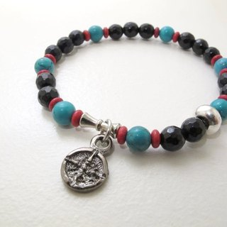 Showdown turquoise / purple chalcedony ore bracelet