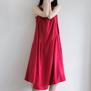 Tan-tan / round neck cut dress - red