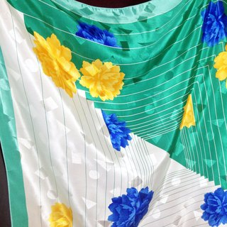 When vintage [antique scarf / green white geometric textured antique flowers large silk shawl] large totem luster