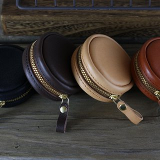 <隆鞄工坊>Black 涩 round coin purse / earphone storage / junction box