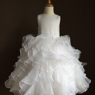 White Organza Dress with Ruffled Skirt