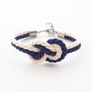 Navy blue and Ivory cream infinity knot nautical bracelet