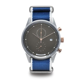 Maverick Chrono Cold Steel Chronograph - Two-tone Dial Blue Twill Watch