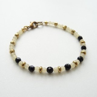 ::A Pinch of Glitter:: Black Onyx, Yellow Jade Beaded Brass Bracelet (B)