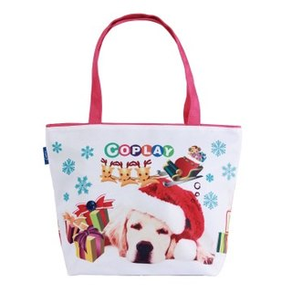 COPLAY  tote bag-Chrismas dog-Pink handle