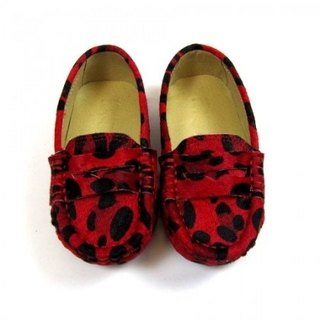 Fort Tony Wang leopard leather handmade shoes [beans bottom / red]