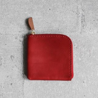 Red vegetable cow hide leather coin zip wallet