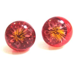 Red sparks handmade glass earrings