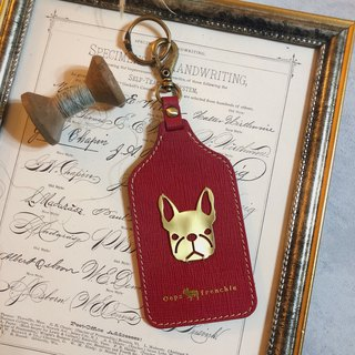 Oops French Bulldog Leather Travel Card Holder/Document Holder - Fighting - Mother's Day Gift -