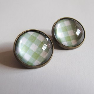 Green Scottish pattern ear clip ear acupuncture