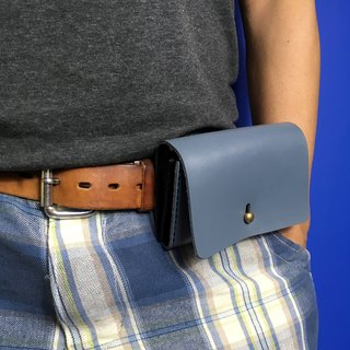 Zemoneni unisex leather waist bag and purse wallet in grey color