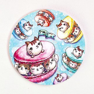 Good meow kawaii ka wa い い hand-painted ceramic water coaster ~ ♥ kitty macarons