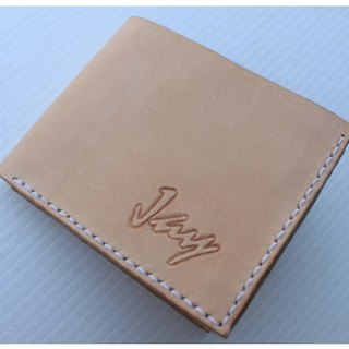 Exclusive customized personal skin color original pure leather short double short clip - can lettering (customized Valentine, birthday gifts)