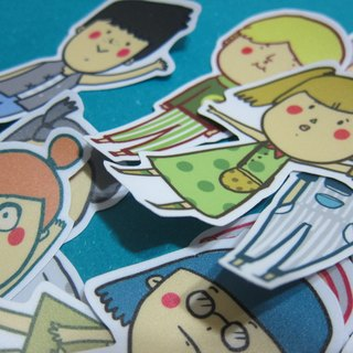 Small people / four sets of large stickers / Magai's sticker