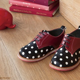 Beven Smiley. MIT full leather children shoes Derby (horse hair models - wine red + black) handmade shoes polka dot
