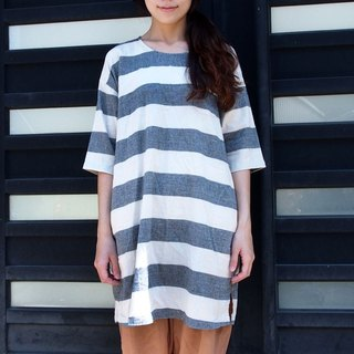 Calf Calf Village ├ original village limits ┤ pocket stripe cotton fifth sleeve dress Long Top {large} i-Free