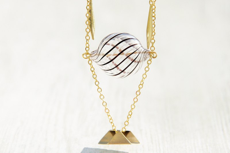 Valentine's Day gift / geometric wind / French striped mouth blown glass chain ossicular chain necklace short chain length - Chocolate + irregular geometric brass