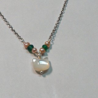 Tong Ling set record 925 sterling silver ornaments ~ meow star people _ {} Great white natural pearl shell kitten head 3mm orange slice green chalcedony necklace hand made clavicle