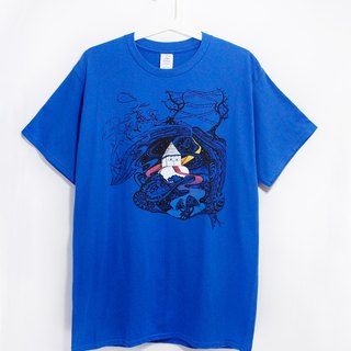 Men Fitted cotton illustration Tee / Travel T - running in the snow-capped mountains of Nepal (sapphire)
