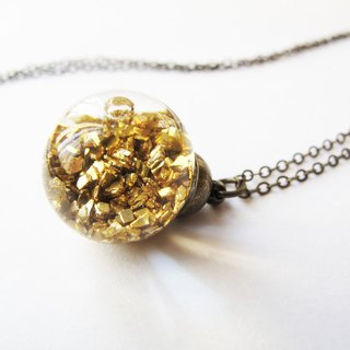 * Rosy Garden * golden planet rocks flowing in water inside glass ball necklace