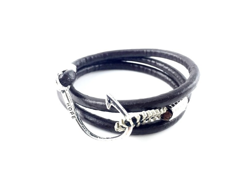 """Leather dark coffee silver hook ring rope x HOPE"""