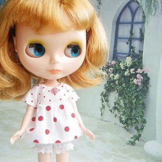 Blythe small red cloth doll clothing sweet babydoll Polka Dot