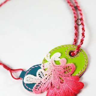 Leather + hand-dyed lace necklace hand-sewn collage necklace