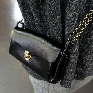 * * Birthday gift handmade leather chain bag - black personality